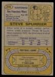 1974 Topps #215  Steve Spurrier  Back Thumbnail