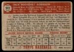 1952 Topps #312  Jackie Robinson  Back Thumbnail