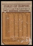 1973 Topps #198   Stanley Cup Champions  Back Thumbnail