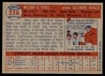1957 Topps #316  Billy O'Dell  Back Thumbnail