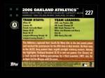 2007 Topps #227   Oakland Athletics Back Thumbnail