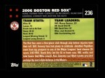 2007 Topps #236   Boston Red Sox Back Thumbnail