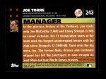 2007 Topps #243  Joe Torre  Back Thumbnail