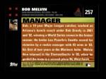 2007 Topps #257  Bob Melvin  Back Thumbnail