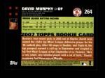 2007 Topps #264  David Murphy  Back Thumbnail