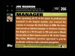 2007 Topps #266  Joe Maddon  Back Thumbnail
