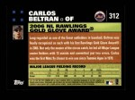 2007 Topps #312   -  Carlos Beltran Golden Glove Back Thumbnail