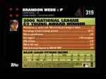 2007 Topps #319  Brandon Webb  Back Thumbnail