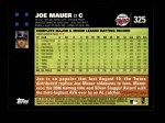 2007 Topps #325  Joe Mauer  Back Thumbnail