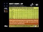 2007 Topps #401  Matt Kemp  Back Thumbnail