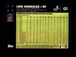 2007 Topps #431  Luis Gonzalez  Back Thumbnail