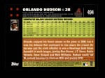 2007 Topps #494  Orlando Hudson  Back Thumbnail