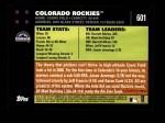 2007 Topps #601   Colorado Rockies Back Thumbnail