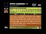 2007 Topps #632  Kevin Cameron  Back Thumbnail