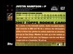 2007 Topps #637  Justin Hampson  Back Thumbnail
