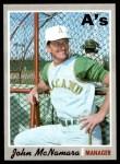 1970 Topps #706  John McNamara  Front Thumbnail