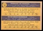 1970 Topps #189   -  Thurman Munson / Dave McDonald Yankees Rookies Back Thumbnail