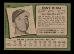 1971 Topps #290  Tony Oliva  Back Thumbnail