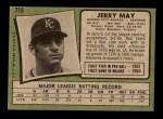 1971 Topps #719  Jerry May  Back Thumbnail