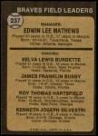 1973 Topps #237 BRN  -  Eddie Mathews / Lew Burdette / Jim Busby / Roy Hartsfield / Ken Silvestri Braves Leaders Back Thumbnail