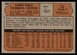 1972 Topps #398  Larry Hisle  Back Thumbnail