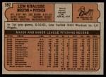 1972 Topps #592  Lew Krausse  Back Thumbnail