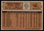 1972 Topps #583  Darold Knowles  Back Thumbnail