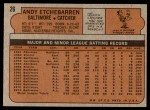 1972 Topps #26  Andy Etchebarren  Back Thumbnail