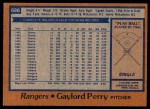 1978 Topps #686  Gaylord Perry  Back Thumbnail