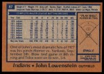 1978 Topps #87  John Lowenstein  Back Thumbnail