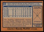 1978 Topps #284  Randy Moffitt  Back Thumbnail