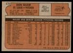 1972 Topps #479  Don Shaw  Back Thumbnail