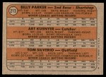 1972 Topps #213   -  Art Kusnyer / Billy Parker / Tom Silverio Angels Rookies   Back Thumbnail