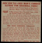 1953 Red Man #22 AL x Dom DiMaggio  Back Thumbnail