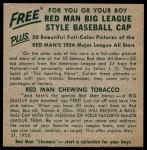 1954 Red Man #15 AL x Gene Woodling  Back Thumbnail