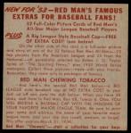 1953 Red Man #2 AL x Hank Bauer  Back Thumbnail