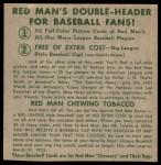 1952 Red Man #26 NL x Wes Westrum  Back Thumbnail