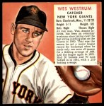1952 Red Man #26 NL x Wes Westrum  Front Thumbnail
