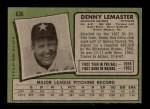 1971 Topps #636  Denny Lemaster  Back Thumbnail