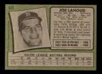 1971 Topps #622  Joe Lahoud  Back Thumbnail