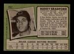 1971 Topps #552  Buddy Bradford  Back Thumbnail