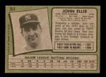 1971 Topps #263  John Ellis  Back Thumbnail