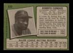 1971 Topps #630  Roberto Clemente  Back Thumbnail