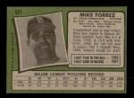 1971 Topps #531  Mike Torrez  Back Thumbnail