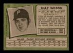 1971 Topps #192  Bill Wilson  Back Thumbnail