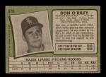 1971 Topps #679  Don O'Riley  Back Thumbnail