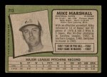 1971 Topps #713  Mike Marshall  Back Thumbnail
