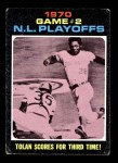 1971 Topps #200   -  Bobby Tolan / Manny Sanguillen 1970 NL Playoffs - Game 2 - Tolan Scores For Third Time Front Thumbnail