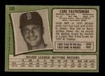 1971 Topps #530  Carl Yastrzemski  Back Thumbnail