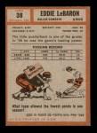 1962 Topps #38  Eddie LeBaron  Back Thumbnail